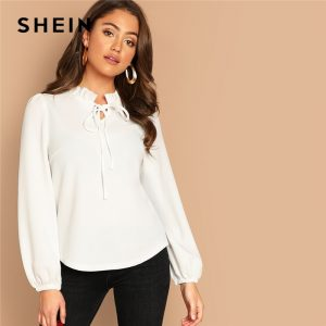 e1ca49c3e83 SHEIN White Workwear Elegant Tie Neck Frill Trim Solid Long Sleeve Blouse  Autumn Office Lady Casual Women Tops And Blouses