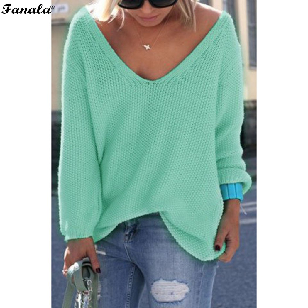 Fanala 2018 Autumn Winter Sweater Women Female Pullover Long Sleeve V-Neck Knit Solid Loose Slim Korean Version Sweaters #30 Image 2