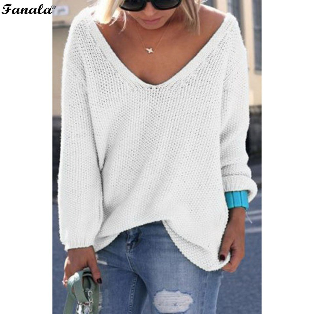 Fanala 2018 Autumn Winter Sweater Women Female Pullover Long Sleeve V-Neck Knit Solid Loose Slim Korean Version Sweaters #30 Image 11