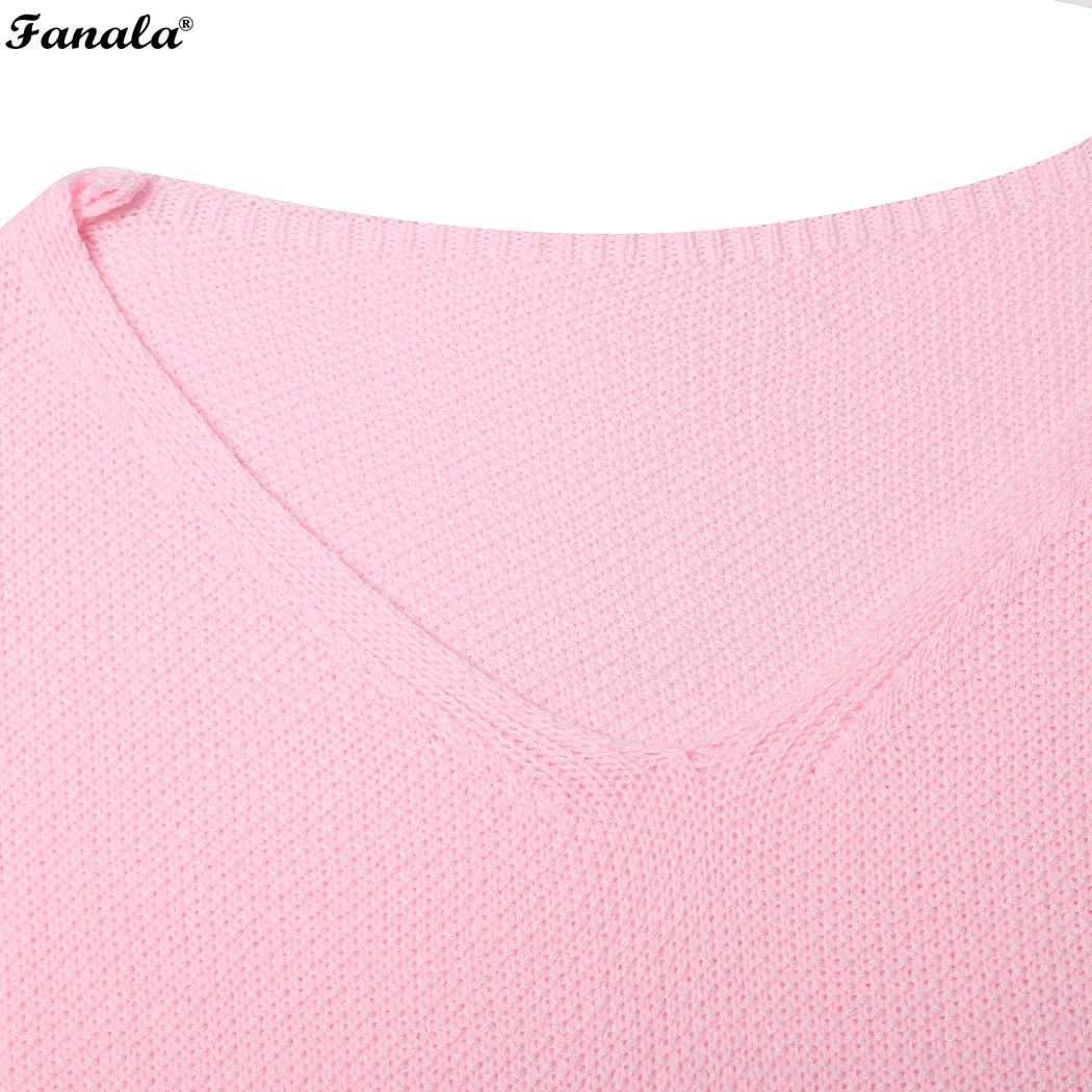 Fanala 2018 Autumn Winter Sweater Women Female Pullover Long Sleeve V-Neck Knit Solid Loose Slim Korean Version Sweaters #30 Image 5