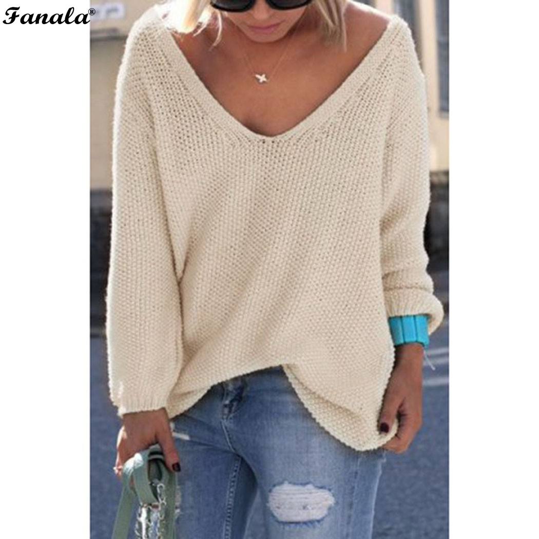Fanala 2018 Autumn Winter Sweater Women Female Pullover Long Sleeve V-Neck Knit Solid Loose Slim Korean Version Sweaters #30 Image 7