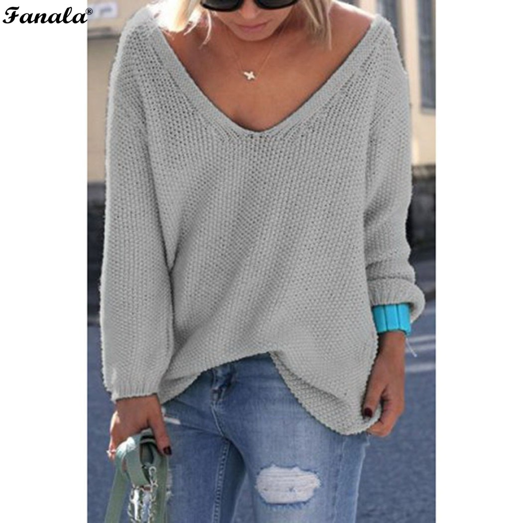 Fanala 2018 Autumn Winter Sweater Women Female Pullover Long Sleeve V-Neck Knit Solid Loose Slim Korean Version Sweaters #30 Image 8