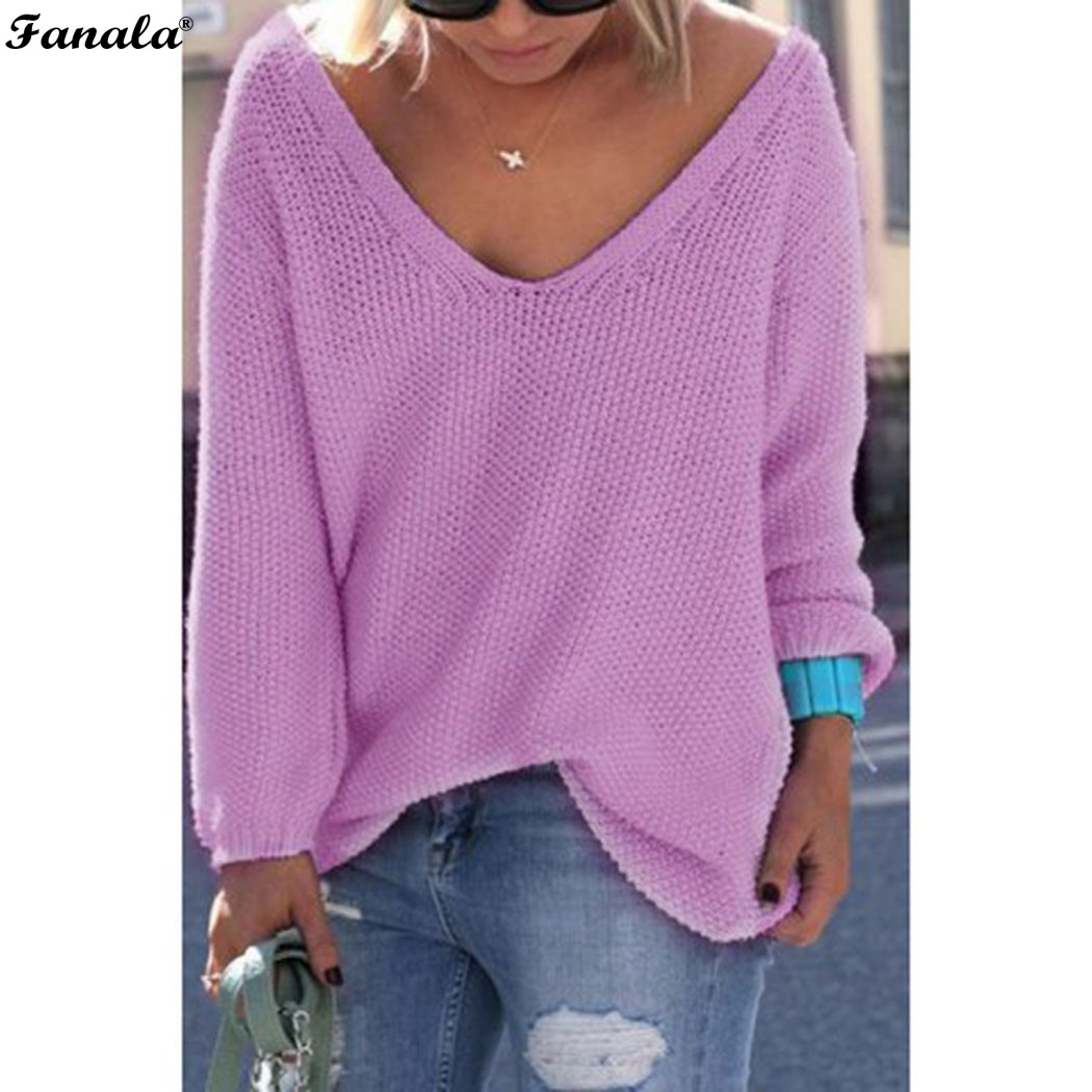 Fanala 2018 Autumn Winter Sweater Women Female Pullover Long Sleeve V-Neck Knit Solid Loose Slim Korean Version Sweaters #30 Image 9
