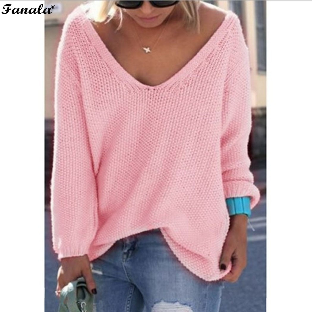 Fanala 2018 Autumn Winter Sweater Women Female Pullover Long Sleeve V-Neck Knit Solid Loose Slim Korean Version Sweaters #30 Image 10