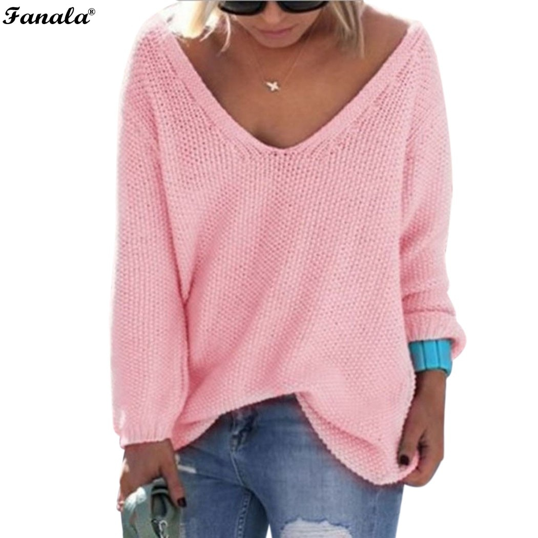 Fanala 2018 Autumn Winter Sweater Women Female Pullover Long Sleeve V-Neck Knit Solid Loose Slim Korean Version Sweaters #30 Image 1