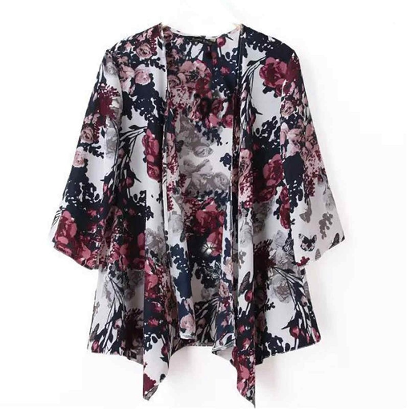 ZANZEA 2018 Summer Style Women Kimono Boho Cardigan Fashion Ladies Shirt Floral Print Blouse camisas femininas Loose Shawl S-6XL Image 2