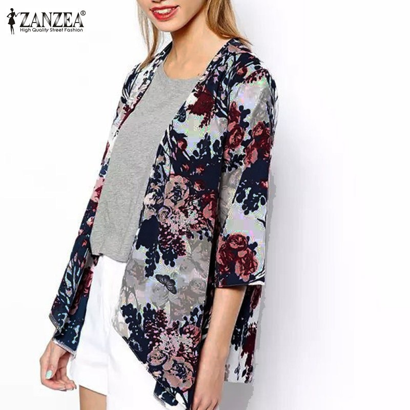 ZANZEA 2018 Summer Style Women Kimono Boho Cardigan Fashion Ladies Shirt Floral Print Blouse camisas femininas Loose Shawl S-6XL Image 1