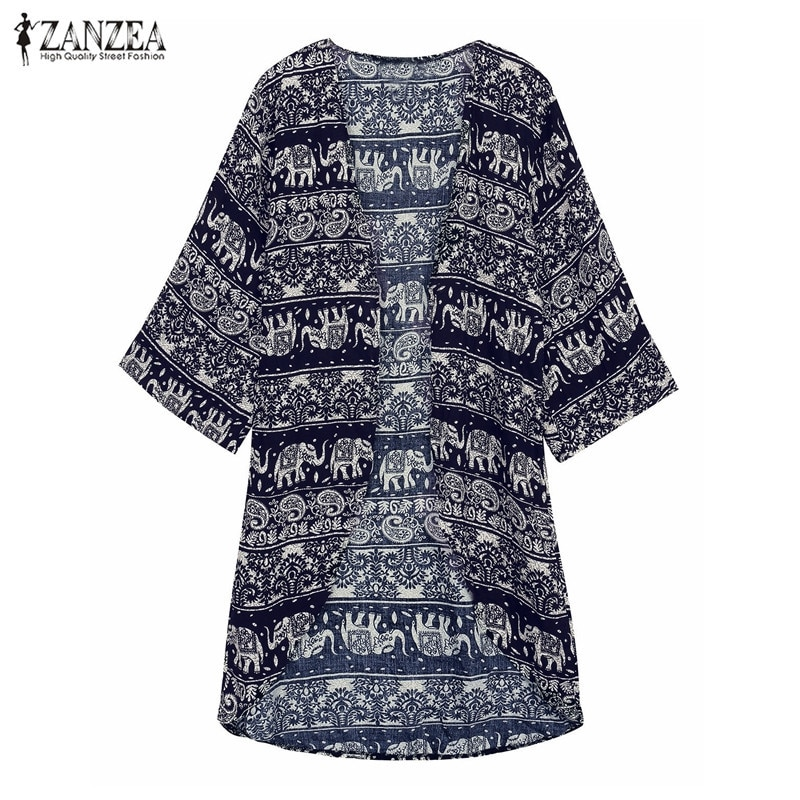 ZANZEA 2018 Women Boho Kimono Cardigan Summer Blouse Floral Print 3/4 Sleeve Casual Long Vintage Shirt Tops Cover Up Plus Size Image 3