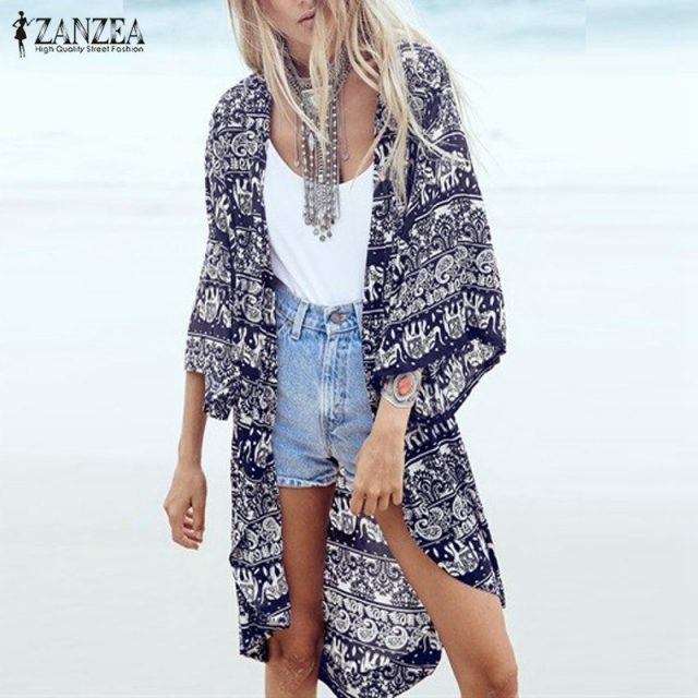 ZANZEA 2018 Women Boho Kimono Cardigan Summer Blouse Floral Print 3/4 Sleeve Casual Long Vintage Shirt Tops Cover Up Plus Size Image 7