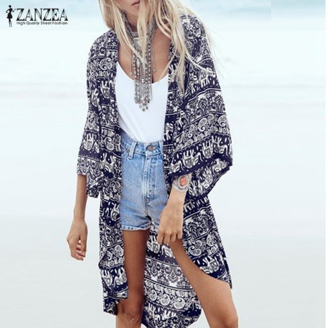 ZANZEA 2018 Women Boho Kimono Cardigan Summer Blouse Floral Print 3/4 Sleeve Casual Long Vintage Shirt Tops Cover Up Plus Size Image 1