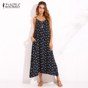 ZANZEA Boho Women's Floral Printed Maxi Dress