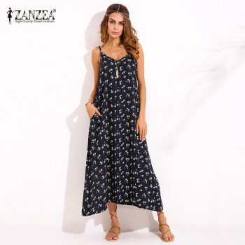 ZANZEA Boho Womens V Neck Floral Printed Sleeveless Summer Beach Party Spaghetti Strap Maxi Long Dress Sexy Sundress Vestidos Image 1