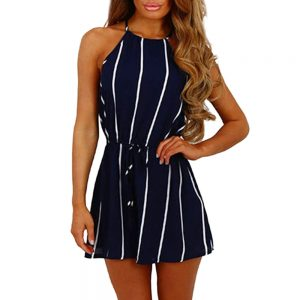Women's Stripe Print Off Shoulder Sleeveless Romper