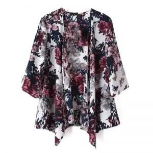 Vintage Summer Half Sleeve Floral Print Blouse Casual Kimono Bohemian Vacation Women Tops and Blouses Female Kimono Cardigan
