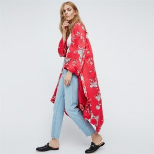 Women Floral Three Quarter SleeveLong Kimono