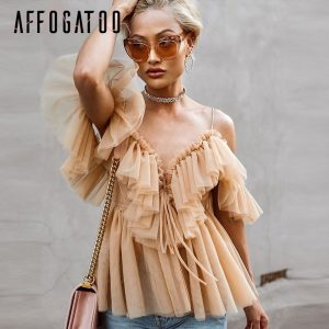 Pleated ruffle vintage peplum off shoulder mesh blouse sleeveless shirt