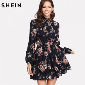 Multicolor Elegant Long Sleeve High Waist A Line Chic Dress Ladies Tie Neck Dress