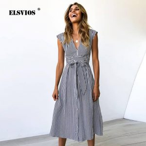 V-neck Button Striped Knee-Length Sleeveless Lace Up Bow A-Line Dress