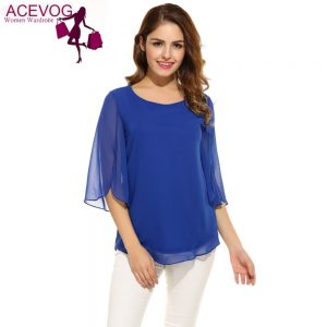 Casual Flare Sleeve O Neck Solid Loose Pullover Chiffon Blouse Shirt