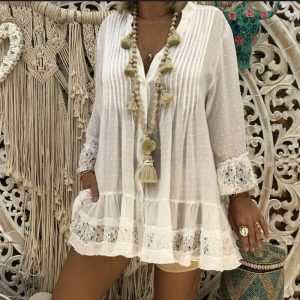 Long Sleeve Blouse V Neck Loose Shirt Lace