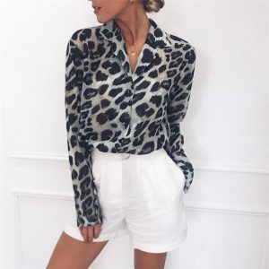 Chiffon Blouse Long Sleeve Sexy Leopard Print Blouse Turn Down Collar