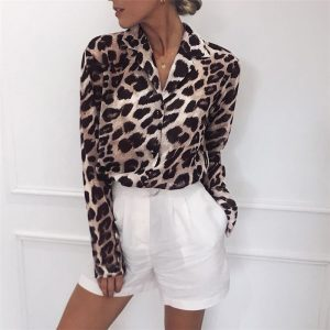 2019 Leopard Print Blouse Chiffon Tops for Women