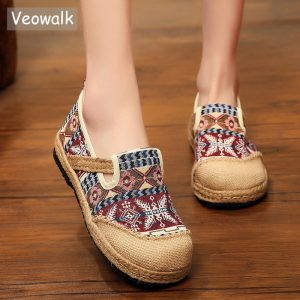 Linen Loafers Handmade Embroidered Comfortable Platform Sneakers