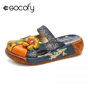 Printed Leather Bohemian Summer Beach Shoes Retro Flower Backless Slip-on Flats