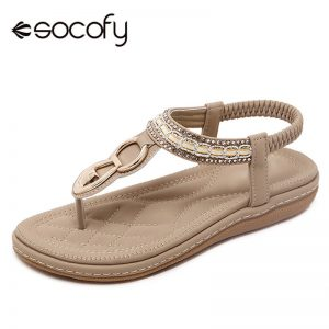 Clip Toe Flat Sandals Casual Slip On Elastic