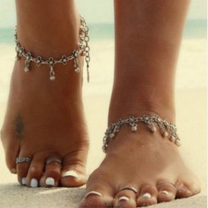 Fashion Jewelry Bohemian Silver Anklet Water Drops Tassel Carving Anklet