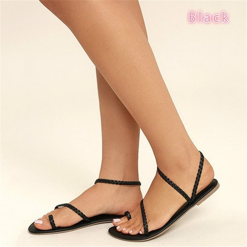 Open toe flats sandals gladiator casual slip on beach shoes