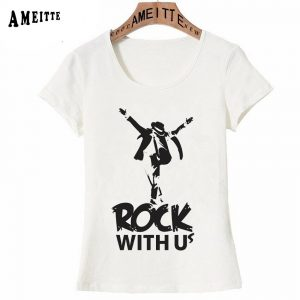 Michael Jackson Rock T-Shirt Classic Rock Design Woman Short Sleeve