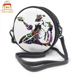 Michael Jackson Shoulder Bag Psychedelic Leather Bag High quality Print Women Bags Women's Small Round Purse