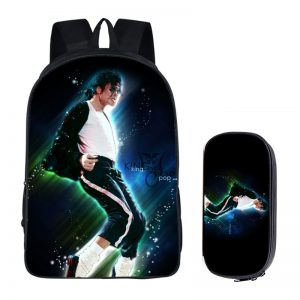 Student Backpacks Michael Jackson Printing Children School Bags for Boys Men Girls Book Bag 2PC Set with Pencil Case