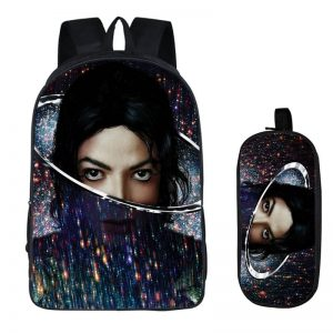 2PC Set with Pencil Case Student Backpacks Michael Jackson Printing Cool Children SchoolBags For Boys Kids Men Book Bag