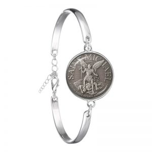 Fashion Bracelet Archangel St.Michael Charm Bangle Jewelry For Holy Gift