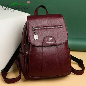 Leather Backpacks High Quality Female Vintage Backpack For Girls School Bag Travel Bagpack Ladies