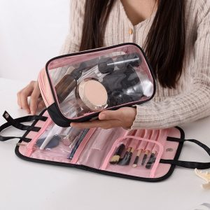 Women Travel Cosmetic Bag Double Layer Beauty Zipper Makeup Case