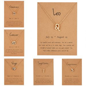 Women's Elegant Zodiac Sign Pendant Necklace